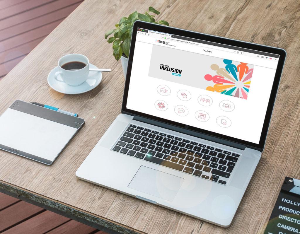 Die BFB-Seite wird auf einem Laptop angezeigt.